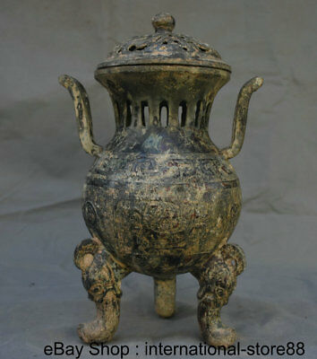 """13"""" Old Chinese Bronze Ware Dynasty Palace 3 Foot Dragon Beast Incense Burner"""