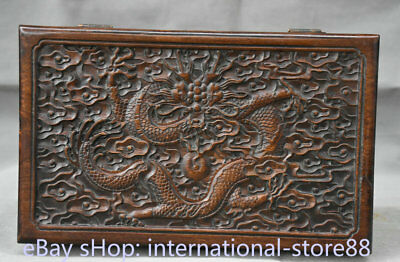"12"" Collect Old Chinese Huanghuali Wood Dynasty Palace Dragon Jewelry Box"