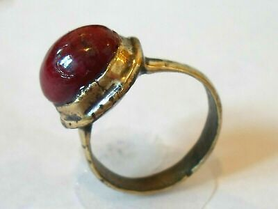 X-Mas Gifts,Detector Find,200-400 A.d Roman Bronze Ring With Real Ruby.polished
