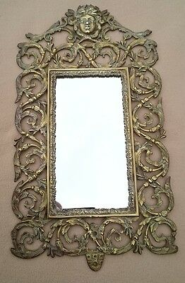 Antique French? English? Georgian Brass Mirror Made In Neoclassical Rococo Style