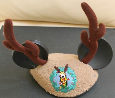 Disney Parks Pluto Plush Christmas Antlers Mickey Mouse Ears Hat - Youth Size.