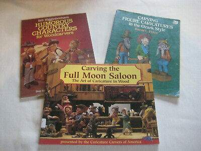 Book LOT E Wood Carving instructions patterns Caricatures figures characters