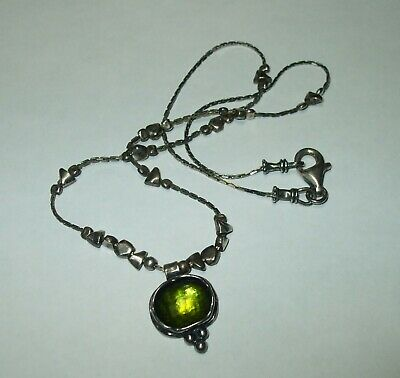 """Silpada Sterling Silver 925 Necklace N1461 Green Glass Pendant Beaded Chain 16"""""""