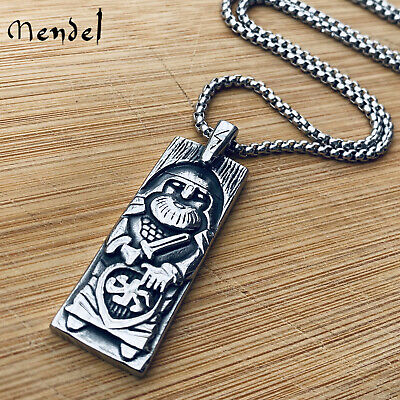 MENDEL Mens Stainless Steel Ancient Norse Viking Thor Amulet Pendant Necklace