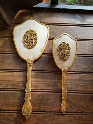 Vintage gold tone vanity brush hand held mirror & comb 2 pc set victorian old