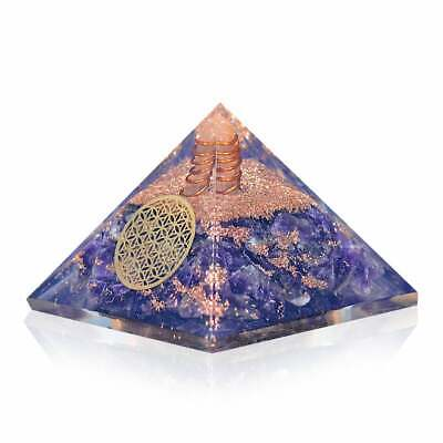 Extra Large 70-75MM Orgonite Crystal Amethyst Flower of Life Orgone Pyramid