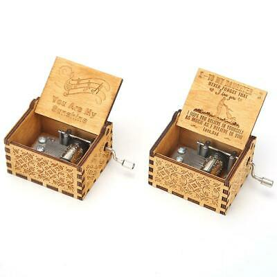 Retro Exquisite Wooden Hand Cranked Music Box Home Crafts Ornaments Gifts