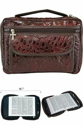 Embassy Alligator Embossed Genuine Leather Bible Cover Burgundy CHRISTMAS GIFT