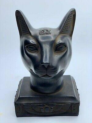 EGYPT EGYPTIAN ANTIQUES BASTET CAT Ubasti GODS Black Carved STONE 3250 BC