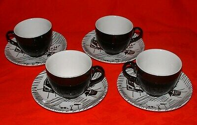 Vintage Ridgway Homemaker - 4 Expresso Coffee Cups & Saucers