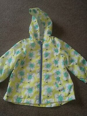 Girls Nutmeg Rain Jacket Age 2-3 Years Yellow Flower Design