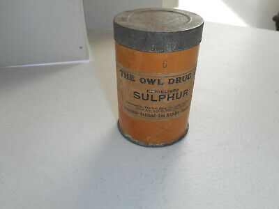 Vintage Owl Drug Co. Sulphur - Full Container - Cardboard with Metal Lid