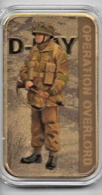 Rare D-Day Forces Gold Plated Brass Ingot Limited Edition, Proof.
