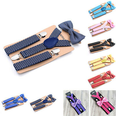 Children Suspenders Kids Toddlers Wedding Suspenders Boys Party Bow Tie