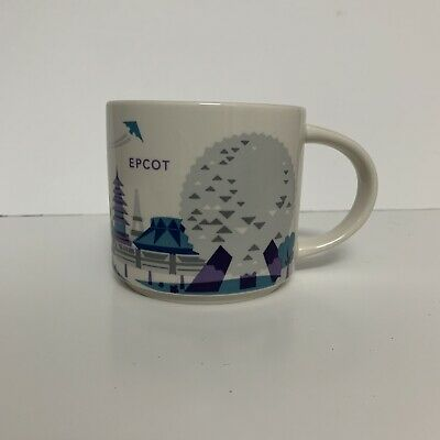 Disney Parks Starbucks Epcot You Are Here Coffee Mug Cup Retired 14Oz