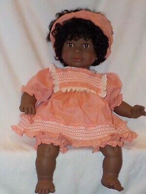 "22"" Large Black Baby Doll By Lissi Batz West Germany"