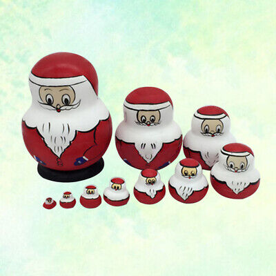10PCS Kids Russia Santa Toys Wooden Toys Home Puzzles for Christmas Xmas Gifts