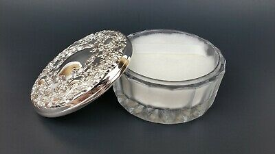 Vintage Towle Silversmiths Silver Plate Lid Dusting Powder Glass Dish w/Puff New