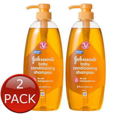2 x JOHNSON'S BABY SHAMPOO WASH GENTLE NO TEARS HYPOALLERGENIC SOAP FREE 800ml