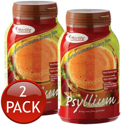 2 x MORLIFE PSYLLIUM POWDERED PURE NATURAL DIETARY FIBRE HUSK POWDER DRINK 350g