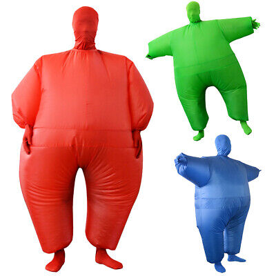 Cosplay Suits Inflatable Fat Chub Suit Fancy Dress Party Costume, Red Green Blue
