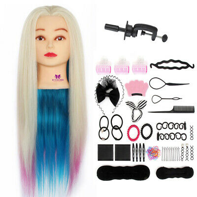 "26-29"" Colorful Synthetic Hair Training Head Mannequin Hairdressing+Braid Set UK"