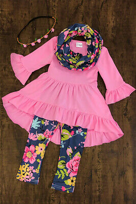 Toddler Kids Baby Girls Flower Top Blouse Pants Leggings Outfits Set Clothes USA