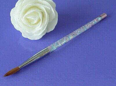 Kolinsky Sable Hair, Liquid Glitter Handle Acrylic Nail Art Brush  Size 12,Uk