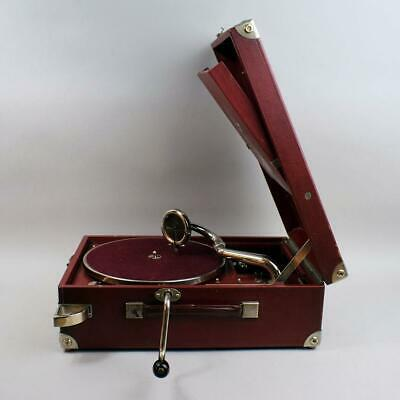 Superb Hmv Portable Wind Up 101 Red Gramophone In Good Working Order
