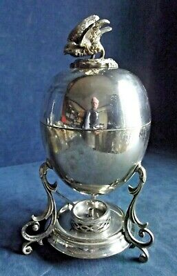 OLD Complete ~ SILVER Plated ~ Egg CODDLER Cooker with BIRD Finial ~ c1900