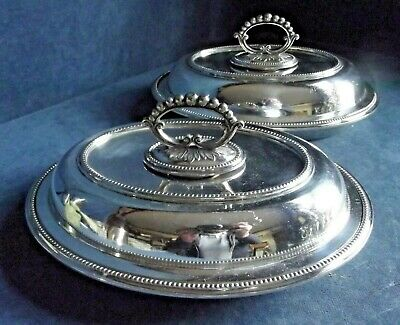 """Superb PAIR Large 10"""" ~ SILVER Plated ~ SERVING DISHES ~ c1900 byJames Dixon"""