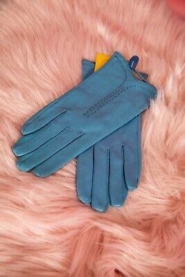 Vintage style light blue soft leather T section stitched leather gloves size 7