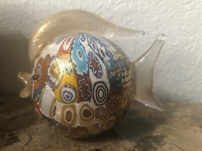 Gorgeous MURANO MILLEFIORI Fish Italian Art Glass Figurine w/ Gold w/Tags