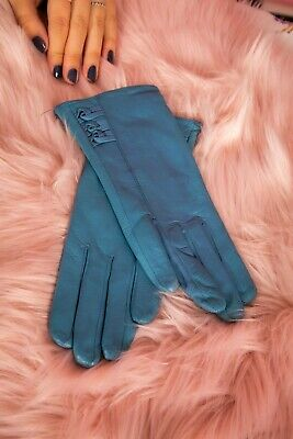 Vintage style soft blue leather triple knot leather gloves size 6.5