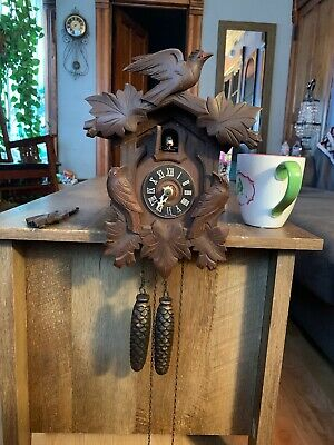 Vintage West Germany Black Forest Small Cuckoo Clock Parts or Repair - Bird