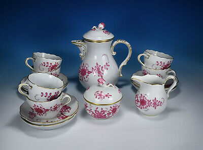 "Meissen "" Indian Purple Indian Painting "" Dinner Coffee Services for 6 People"