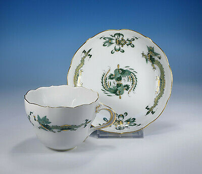 "Meissen "" Court Drache Dragon Green "" Coffee Cup without Saucer 1.Wahl"
