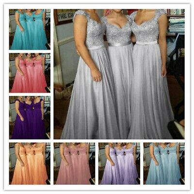 Formal Long Chiffon Prom Evening Party Ball Gown Bridesmaid Dresses Size 6-24 UK