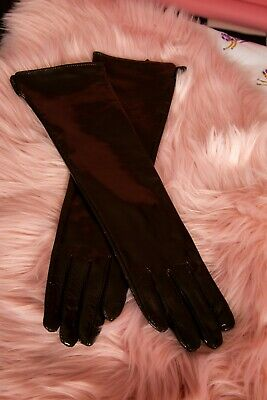 Vintage kinky style dark brown patent leather elbow length gloves  Size S