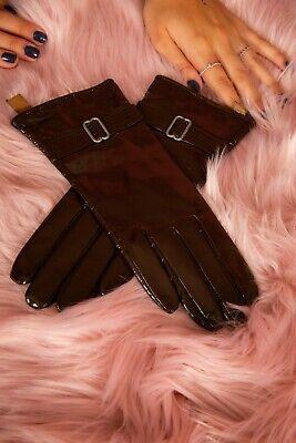 Vintage style brown patent leather gloves with silver buckle size 7.5 Goat Skin