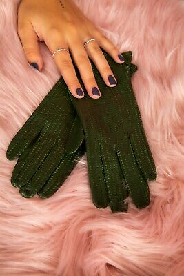 60s Vintage style perforated dark green soft leather gloves size 7