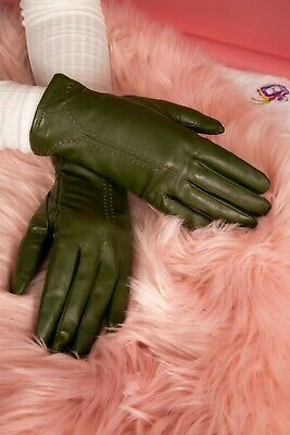 Vintage style green leather gloves with stitched T section by Neli size 7.5