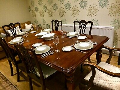 Victorian, mahogany, extending dining table with 6 chairs including 2 carvers