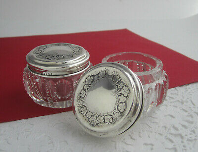 Pair Antique Sterling Silver Cut Glass Zipper Dresser Powder Jars Wallace & Sons