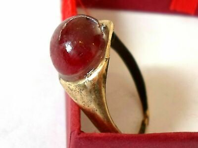 X-Mas Gifts,Detector Find,200-400 A.d Roman Bronze Ring With Real Ruby.polished.