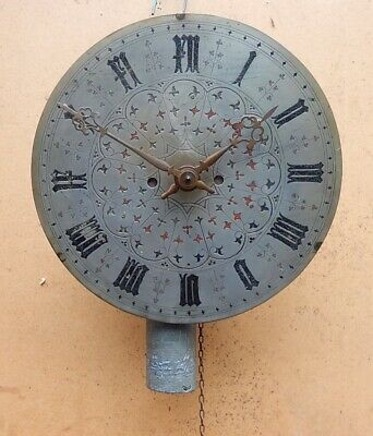 Engraved 18th. Century Brass Dial Single weight clock Working 3022