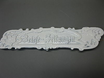 Letter Slot Cast Iron 27 cm x 6 cm Vintage Antique Style White