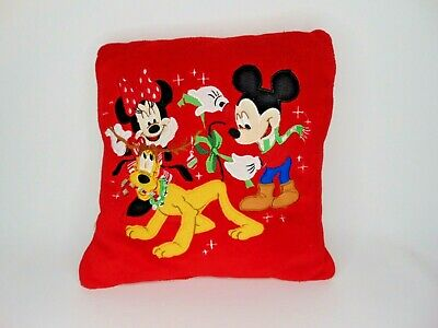 """13"""" square Mickey mouse throw pillow Minnie Pluto Christmas embroidered   H2"""