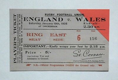 England Wales Rugby Union Ticket 1935