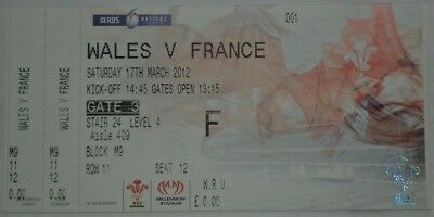 Wales France Rugby Union Ticket 2012
